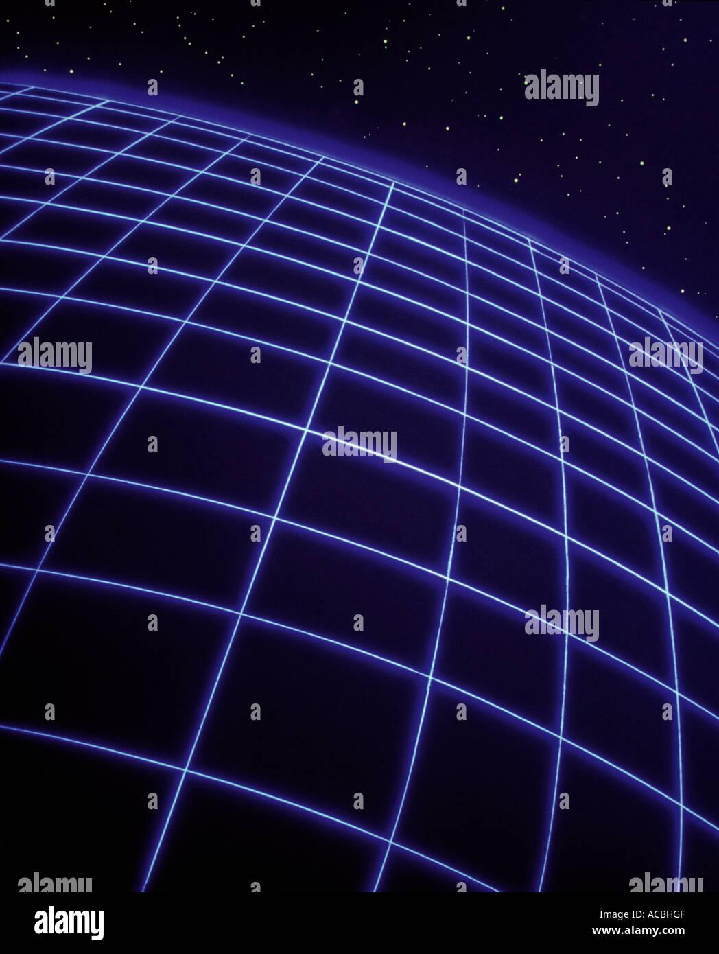 digital enhancement 3 dimensional grid sphere in cosmic space with stars - Stock Image