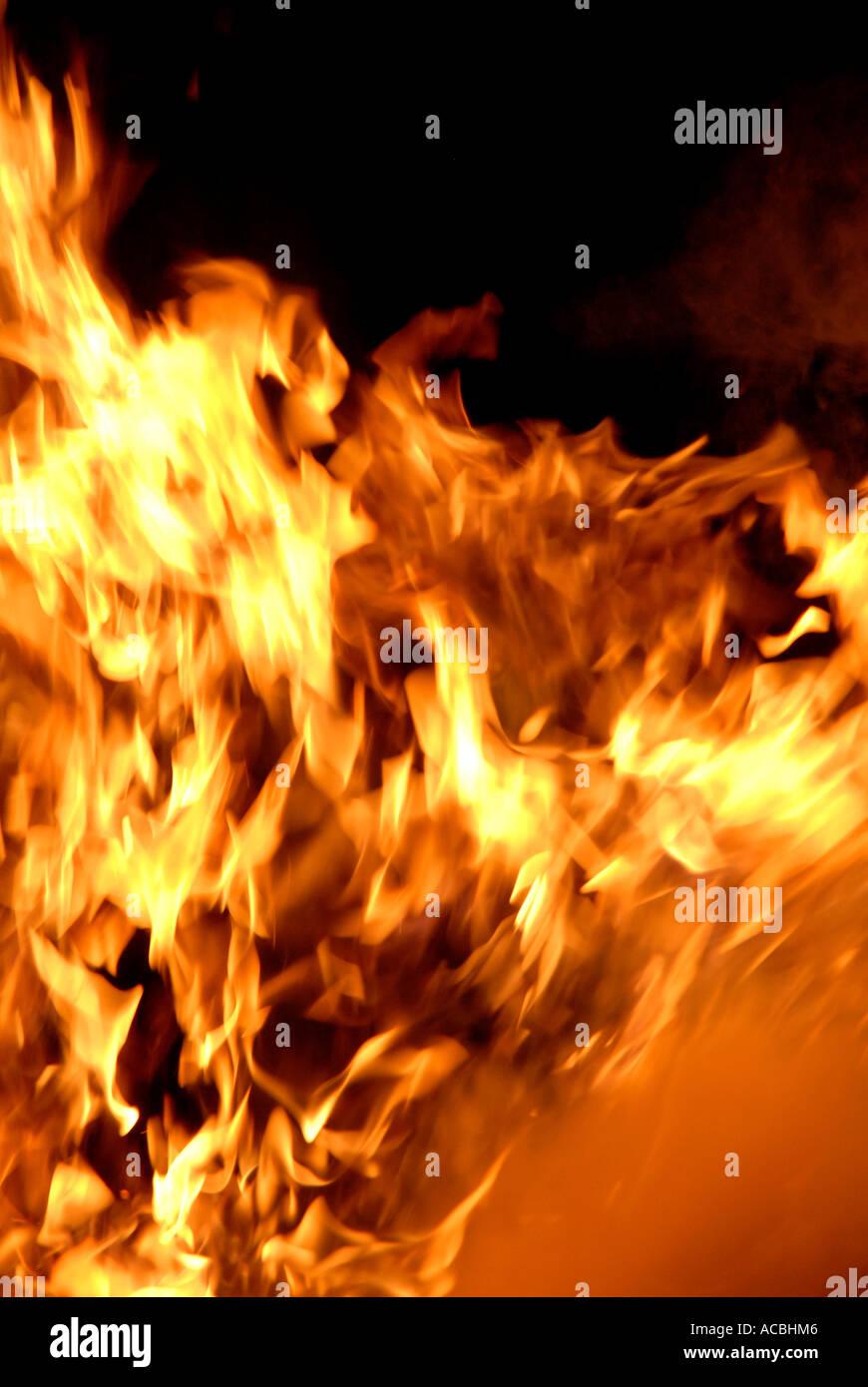 Flame fire intense burning - Stock Image