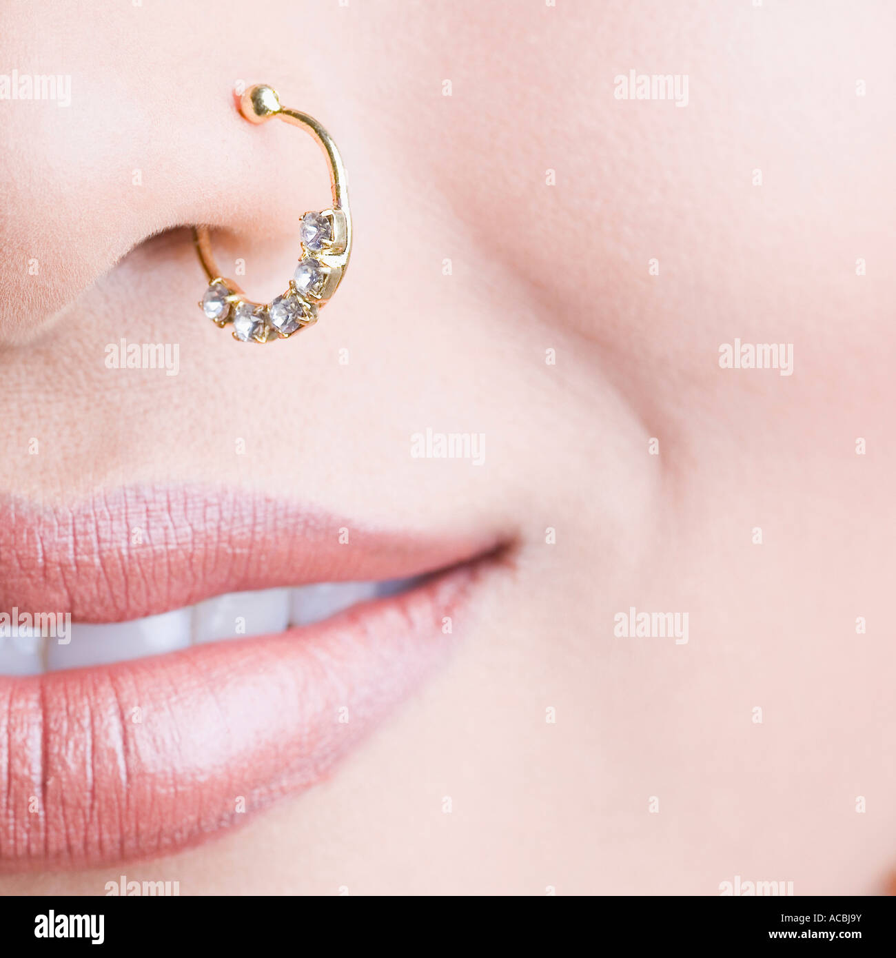 Close Up Of A Traditional Nose Ring On A Woman S Nose Stock Photo
