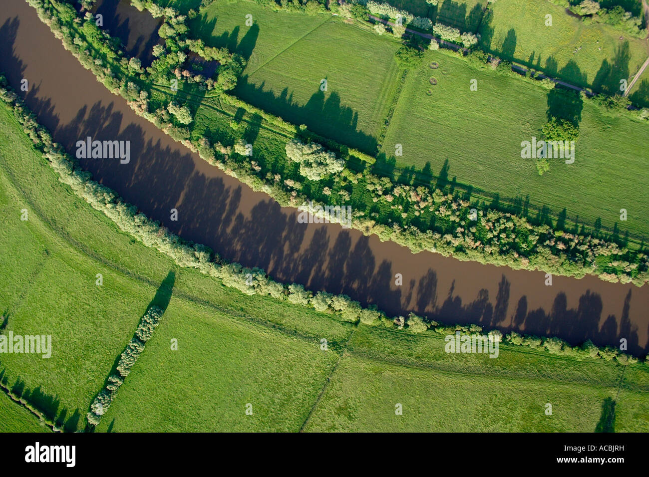 Aerial shot  River Severn near Tewkesbury from directly above June 2007 before summer floods - Stock Image