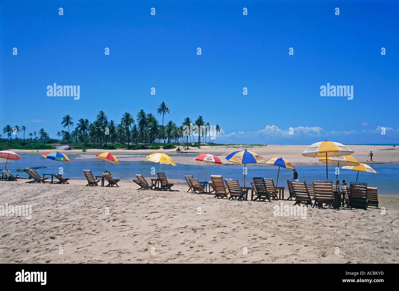 loungers at beach near city of salvador da bahia state of bahia brazil - Stock Image