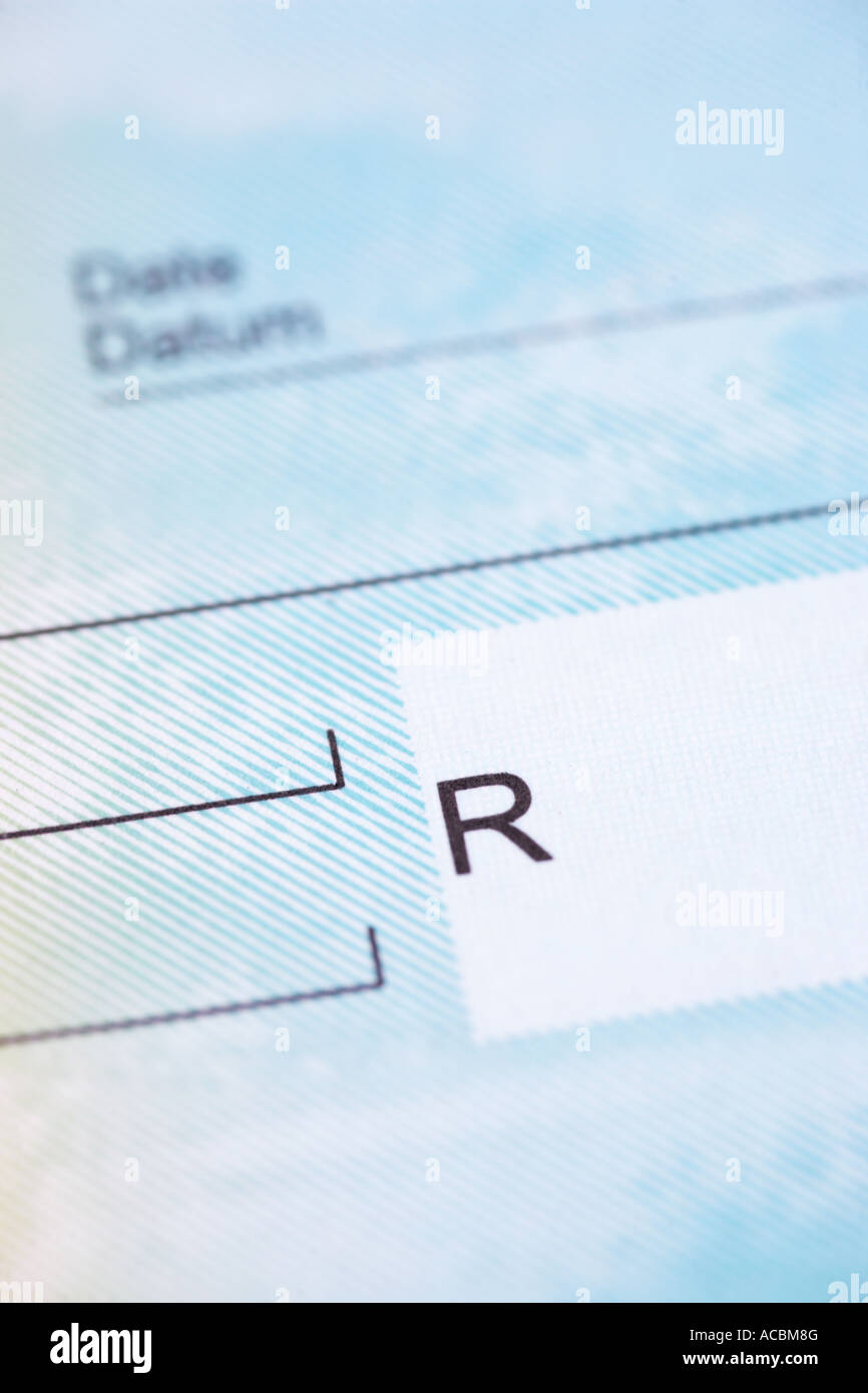 Close up of unwritten bank cheque South African Rands - Stock Image