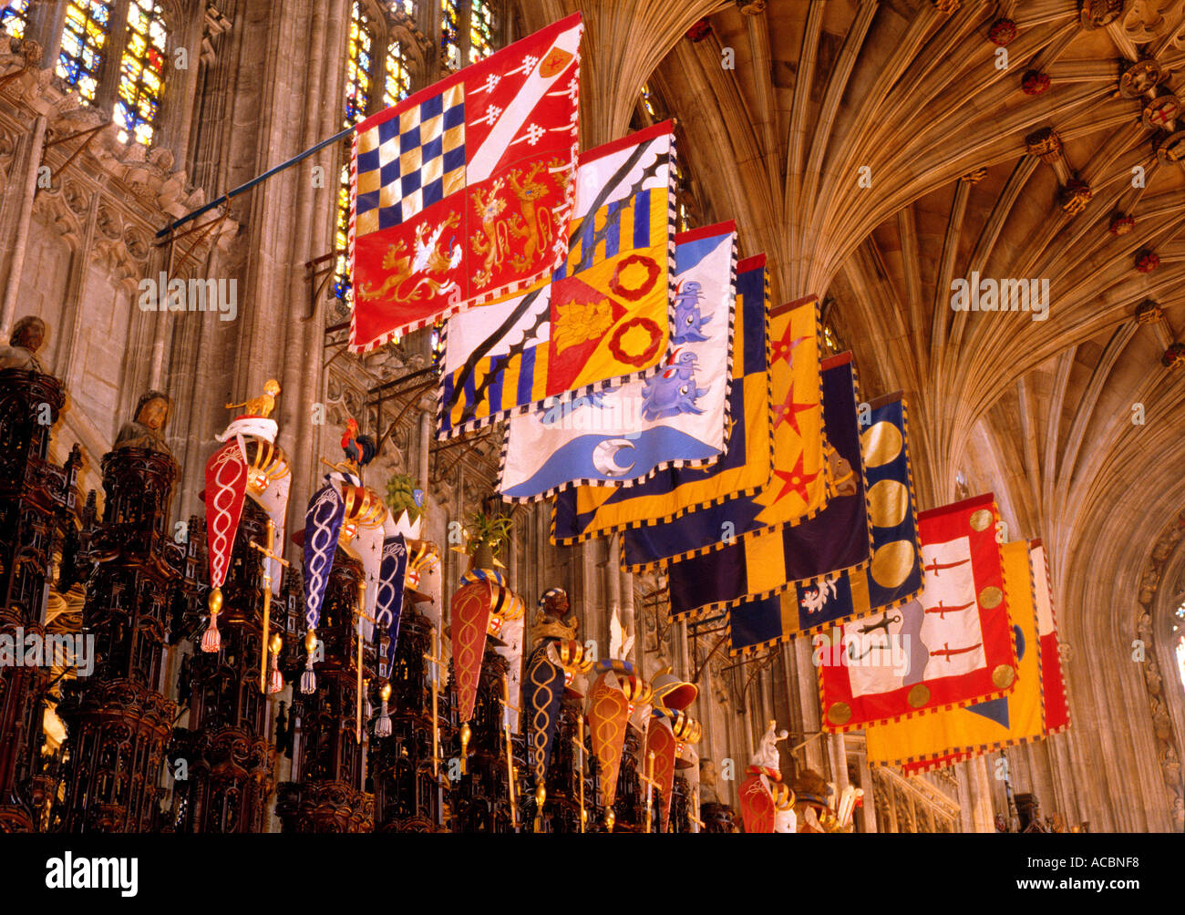 Windsor St Georges Chapel Heraldry choir Berkshire England UK Banners Flags Coat of Arms Knights of the Garter travel interior interiors - Stock Image