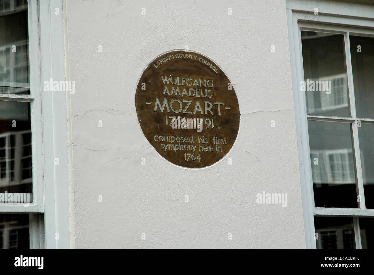 MOZART PLAQUE IN CHELSEA London England UK - Stock Image
