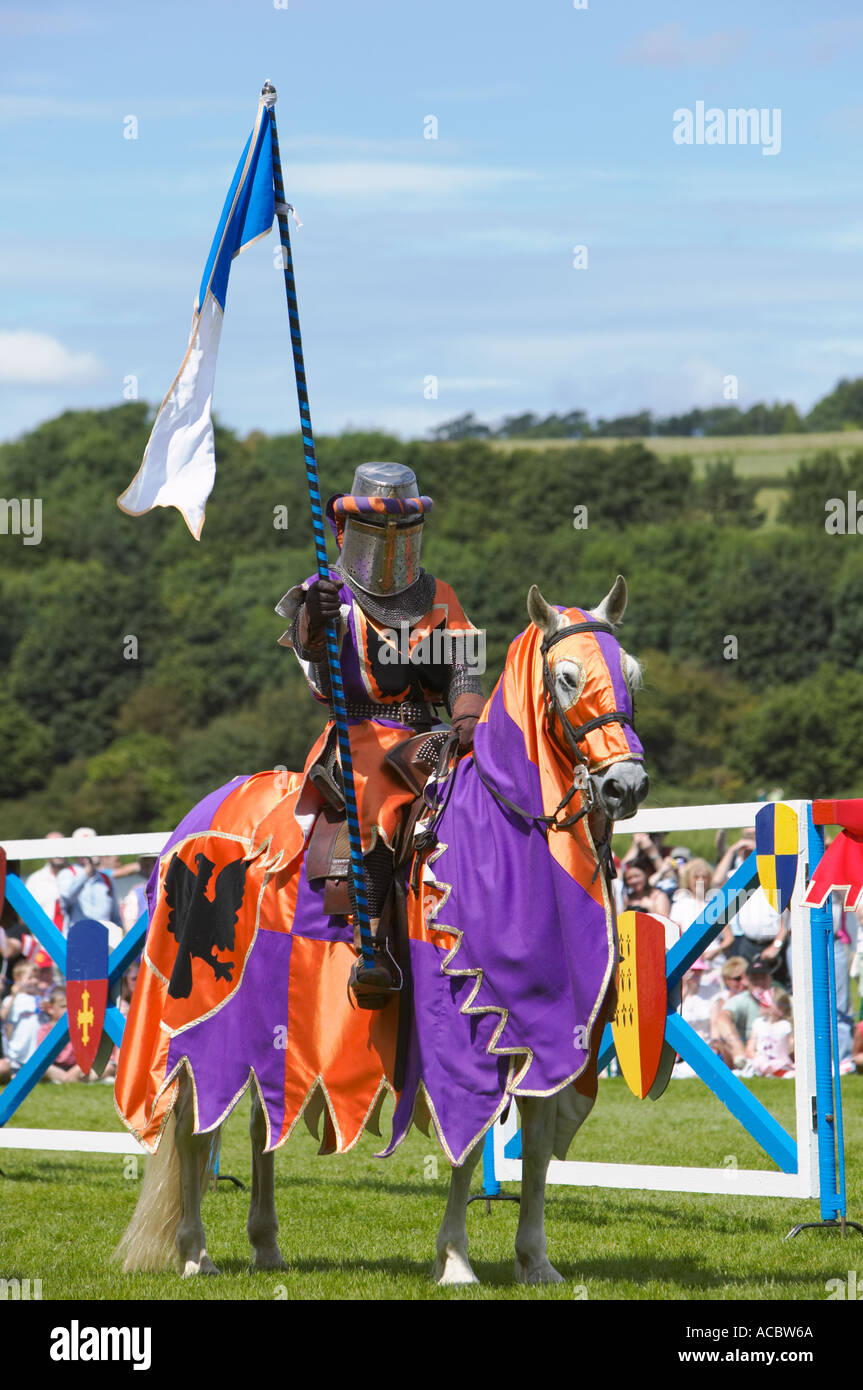 Mounted Knight at a historical re enactment of a jousting tournament - Stock Image