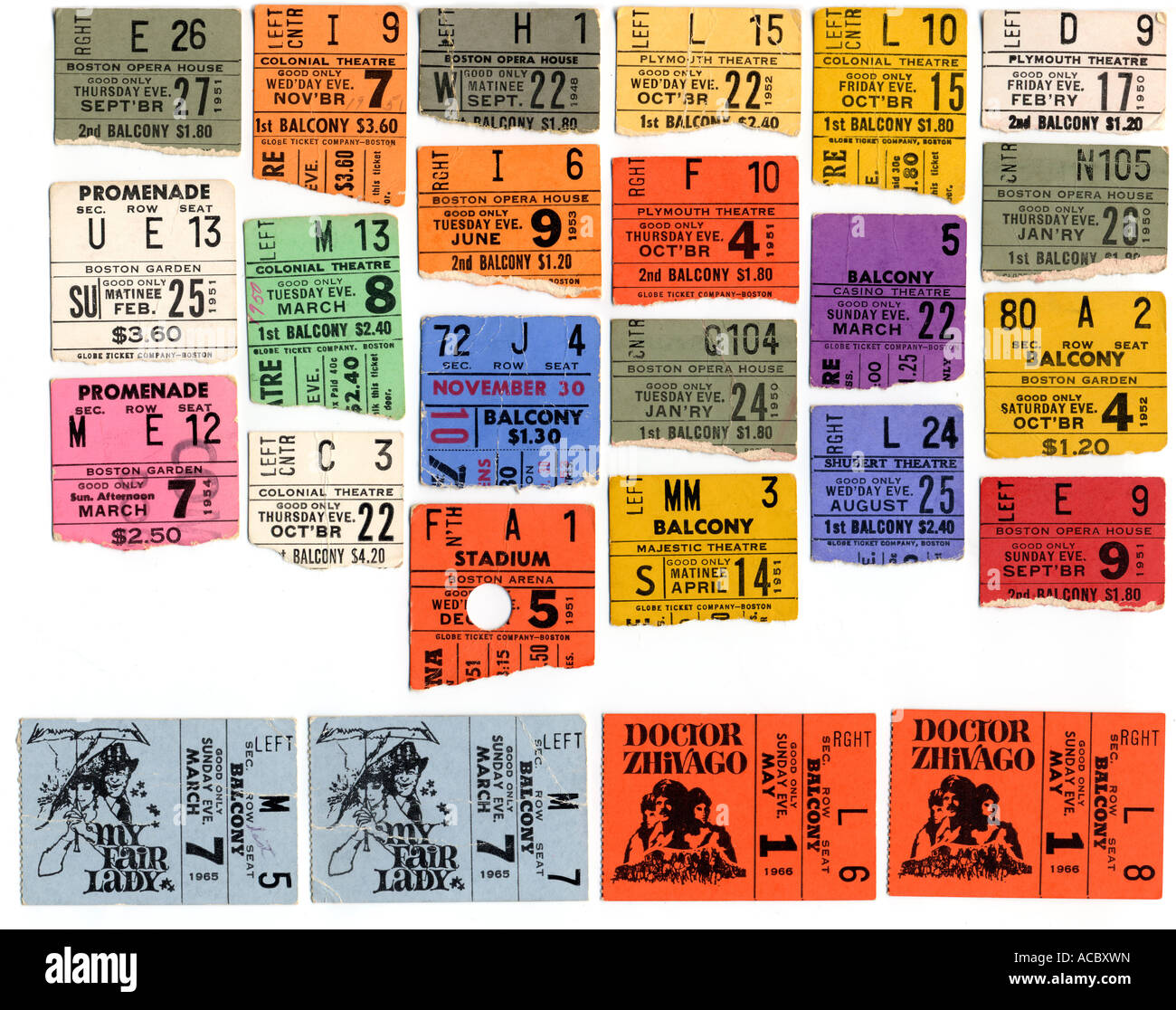 Vintage circa 1950s torn theater and movie ticket stubs - Stock Image