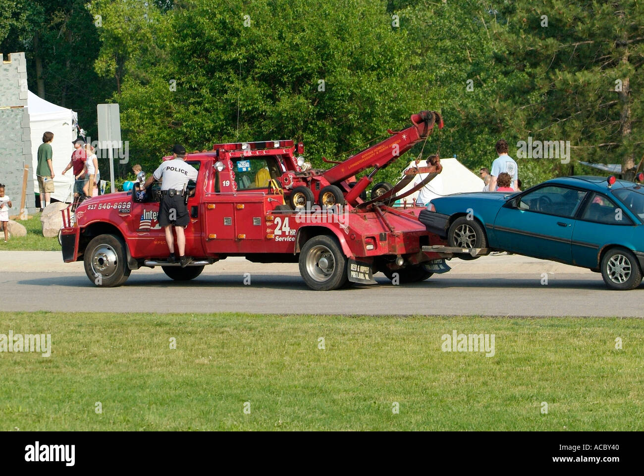 Tow Truck Pull Stock Photos Images 1954 Dodge Police Removes Illegally Parked Automobile Image