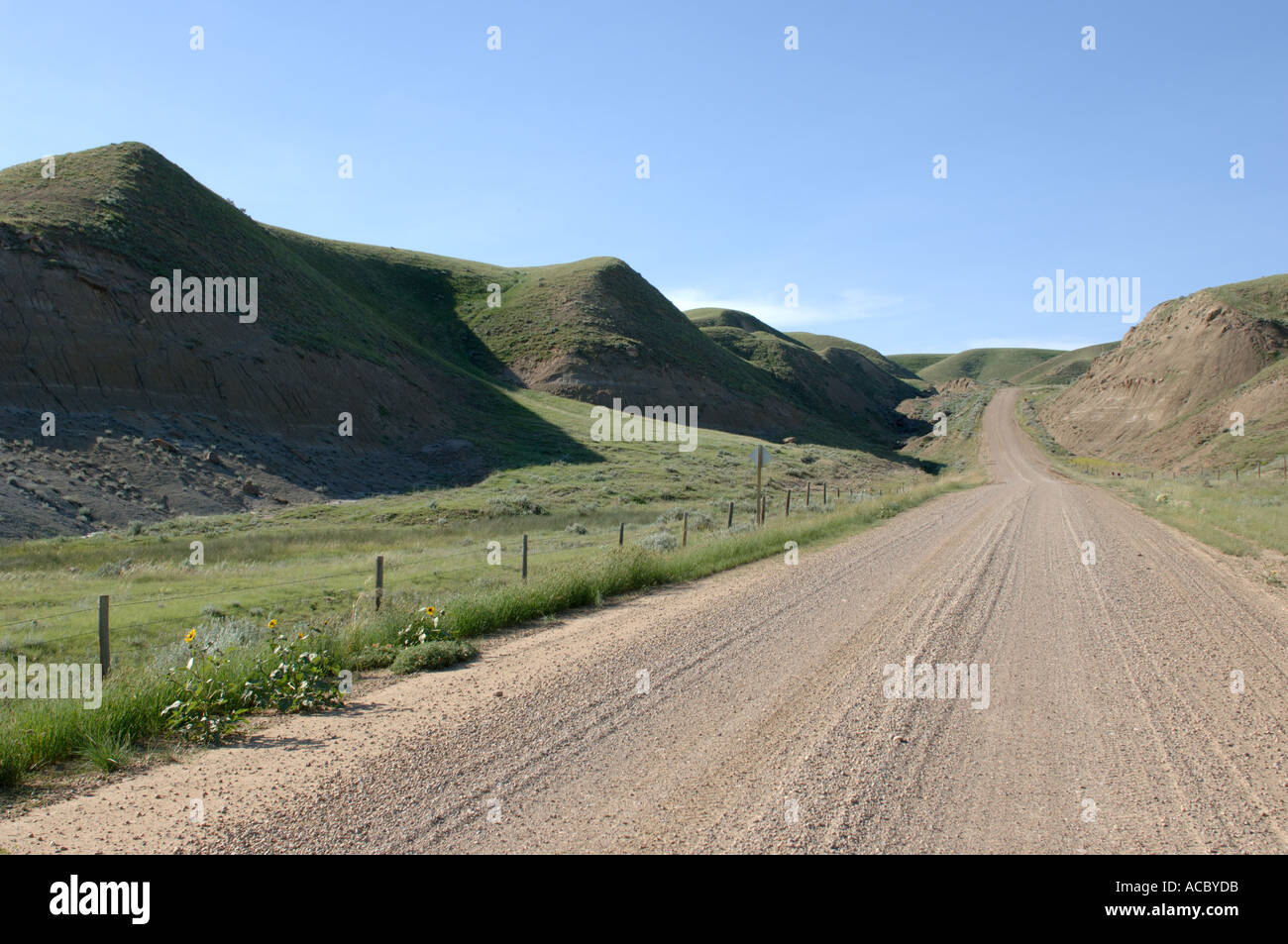 Highway 848 near ghost town of Dorothy Southern Alberta Canada - Stock Image