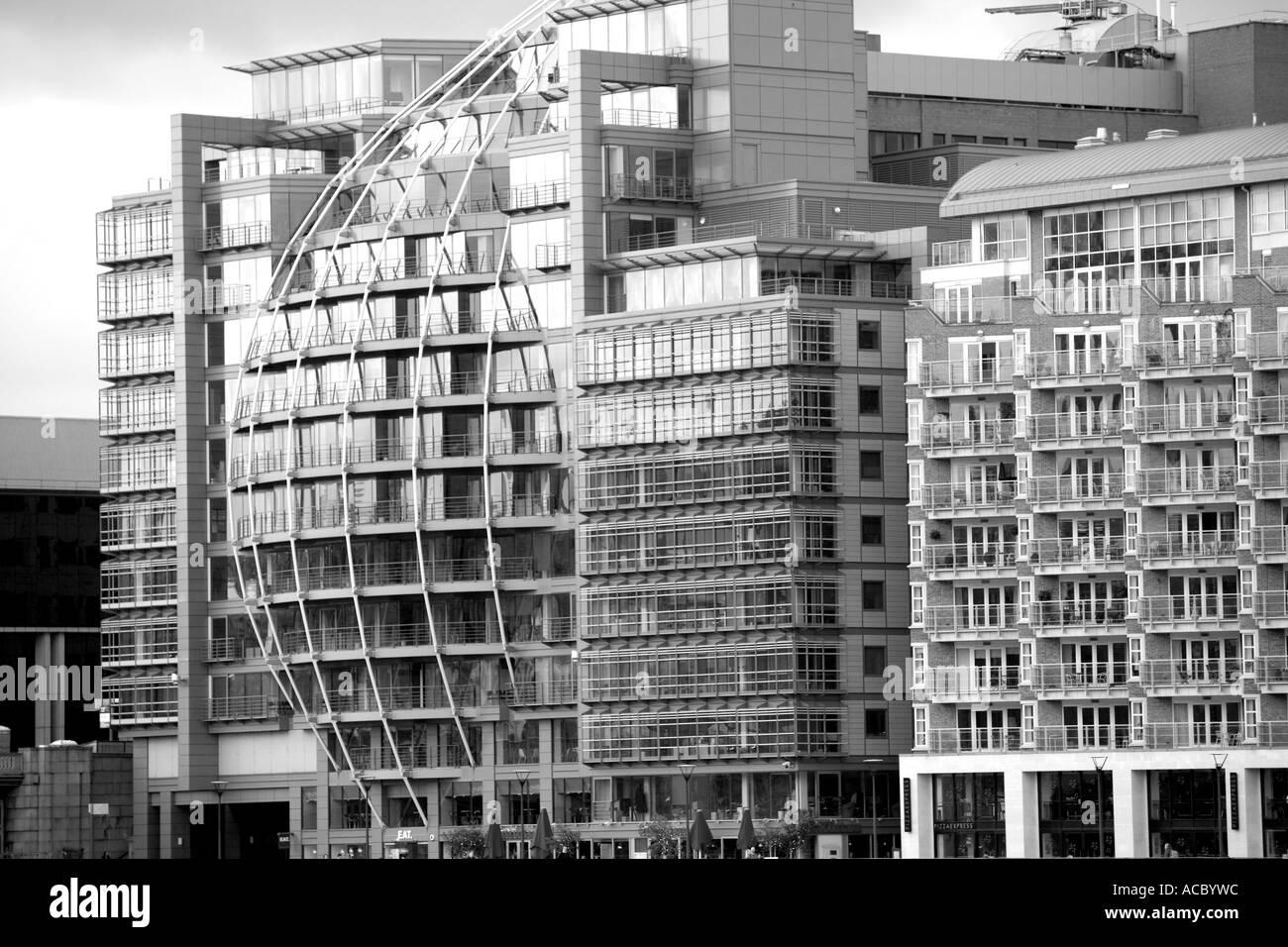 Unique architecture along the river Thames. London England. UK. United Kingdom. - Stock Image