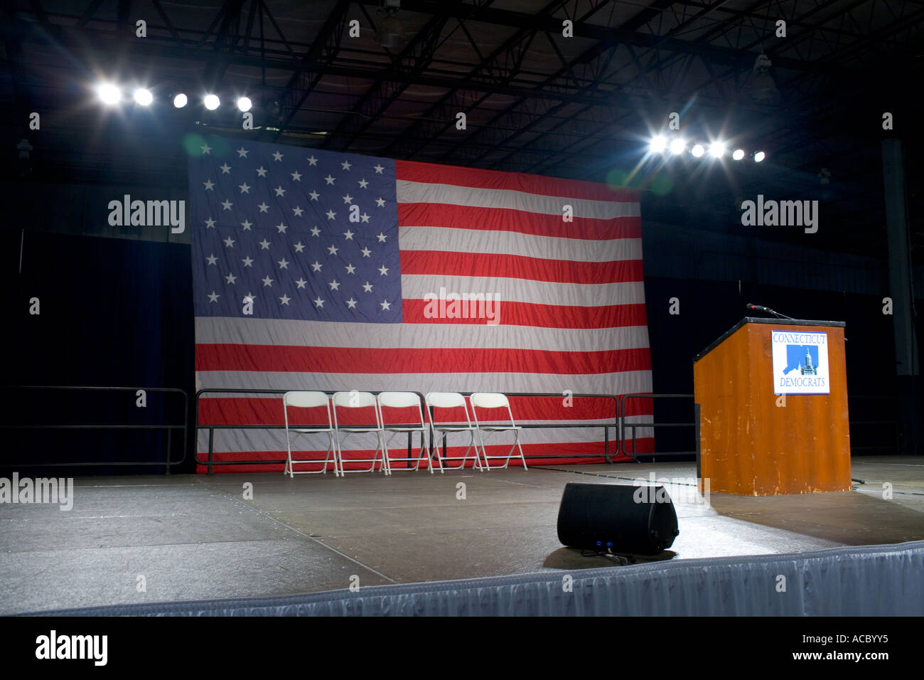 Empty Stage with giant American Flag before political rally in Connecticut USA - Stock Image