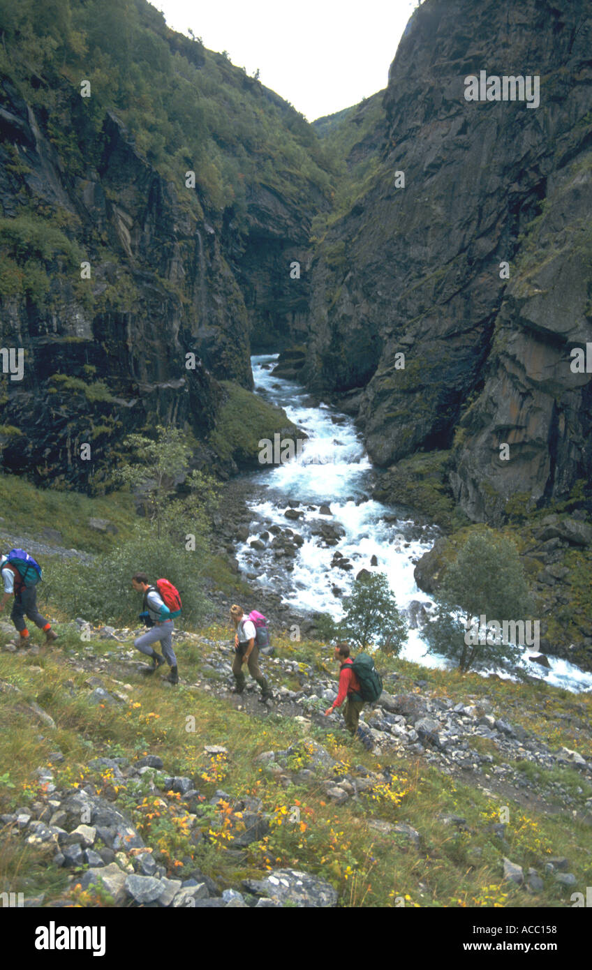 Hikers walking beside a stream in the Aurland Valley Norway - Stock Image
