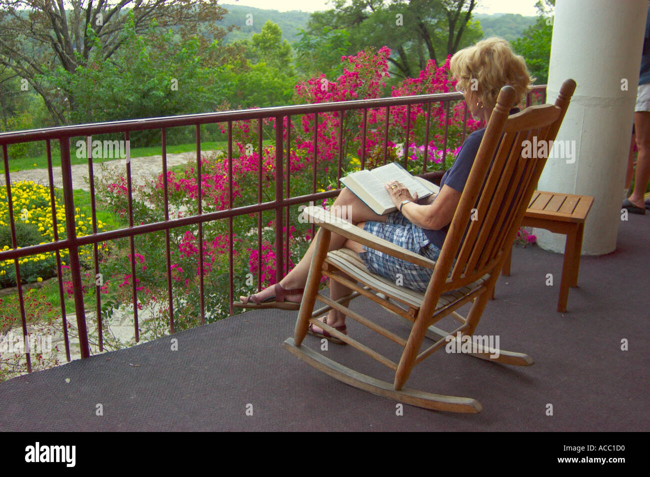 Rocking Chairs On Porch At Crescent Hotel Eureka Springs Arkansas USA    Stock Image