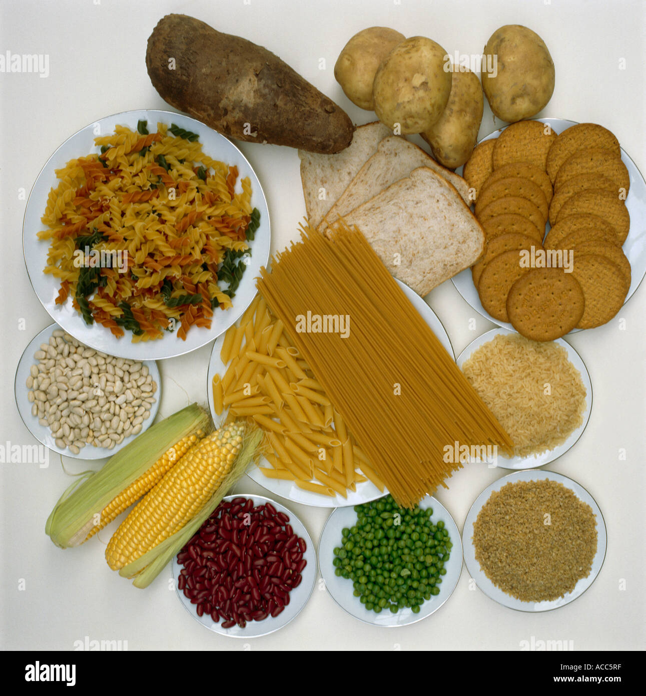 Carbohydrates Wheat Cracked Maize Rice Potatoes Yam Peas Bread Pasta Digestive Biscuits - Stock Image