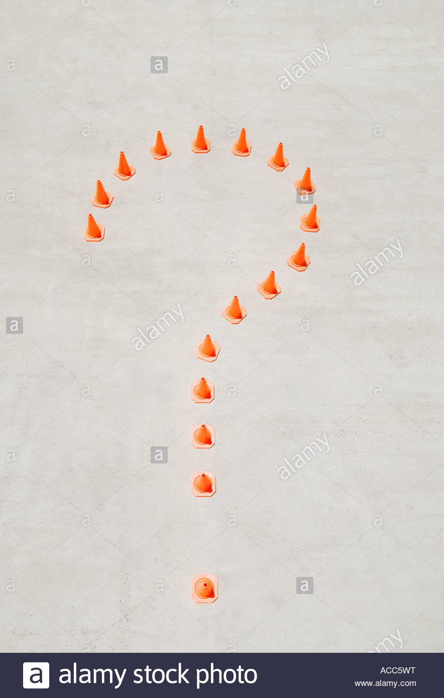 Aerial view of traffic cones forming question mark - Stock Image