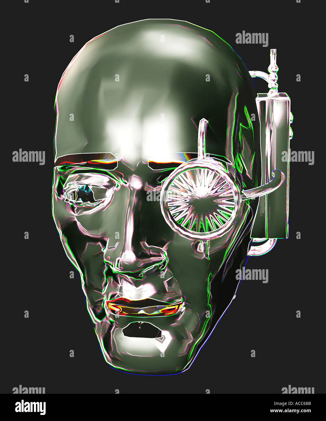 3D computer generated chrome robot face with headset - Stock Image