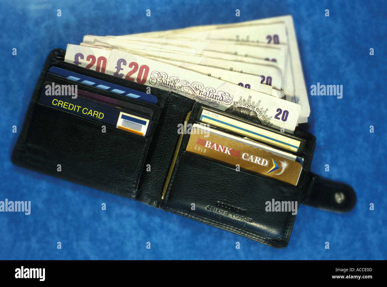 wallet with money and bank cards - Stock Image