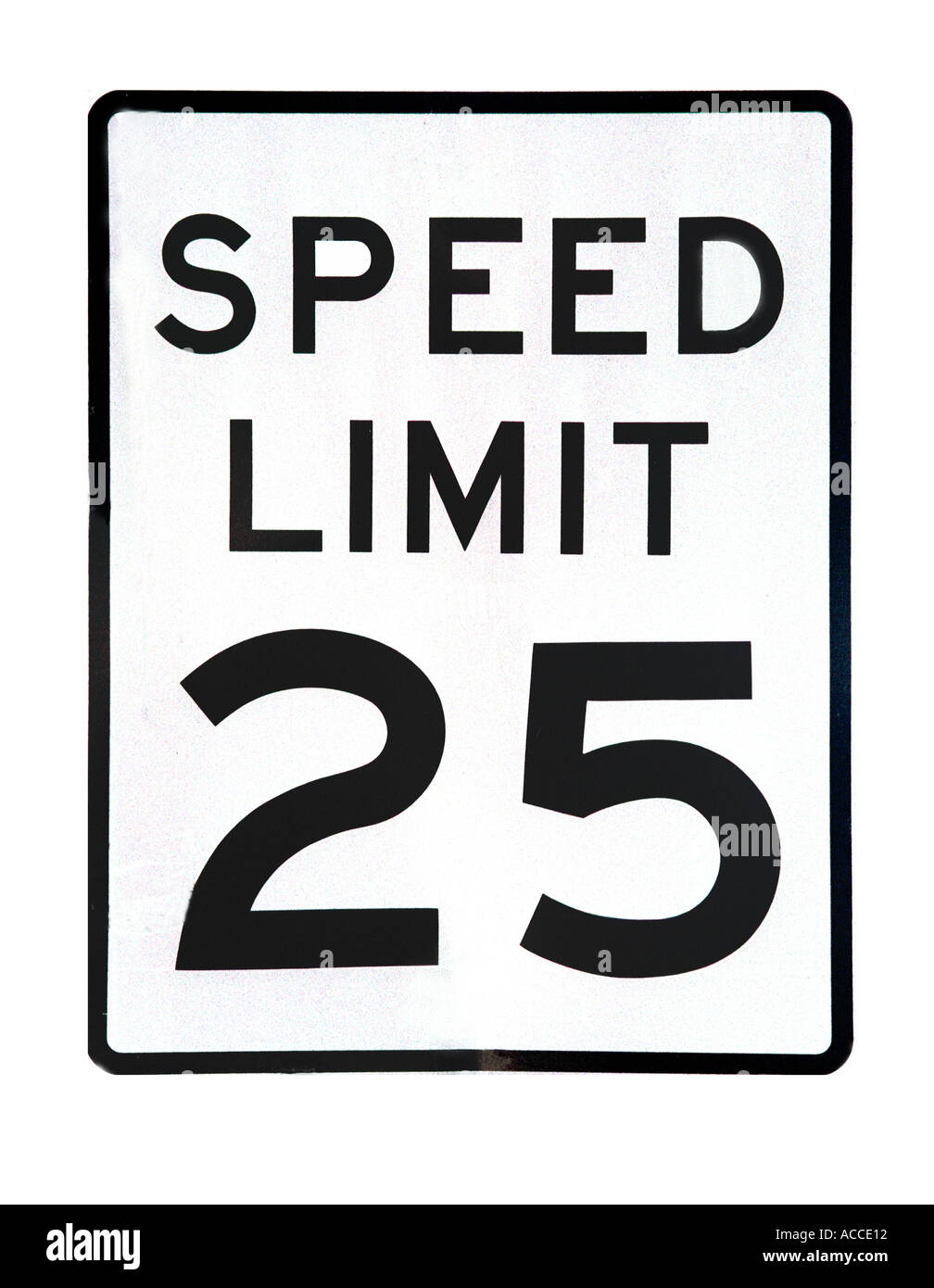 White and black Speed limit sign - Stock Image