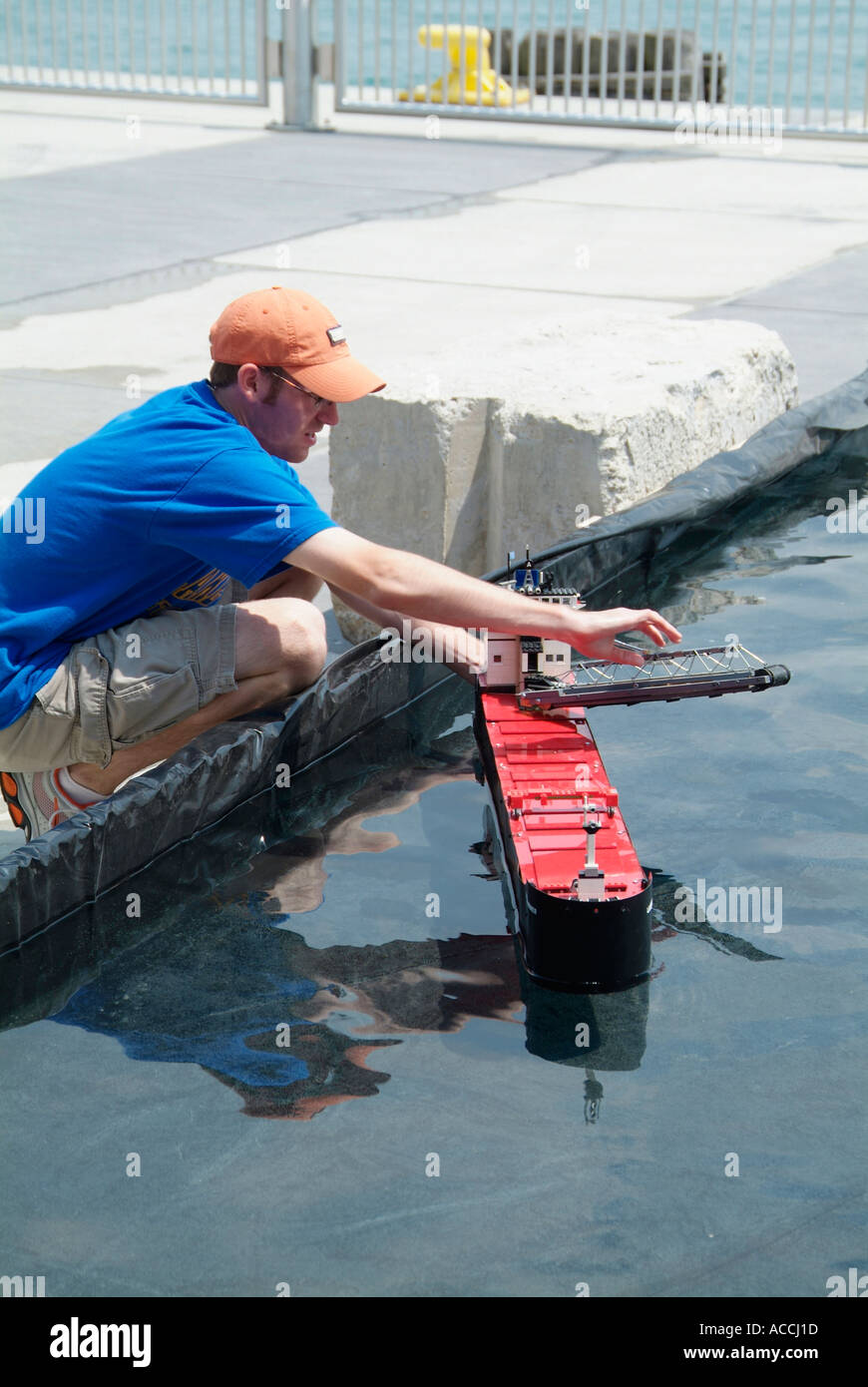 Model boat hobbyist club demonstrate ships and boats at