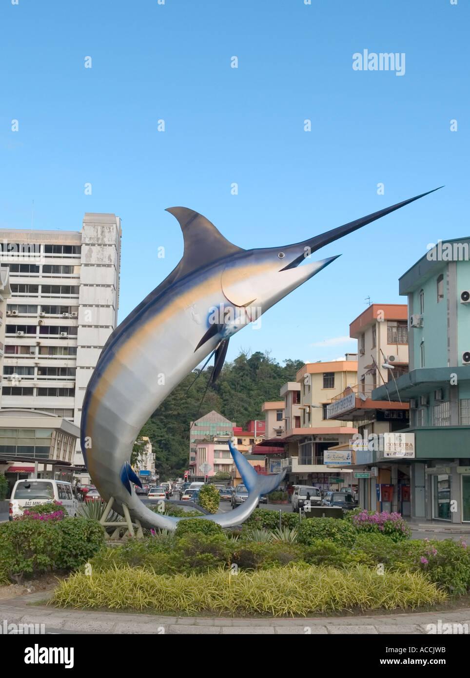 Sword Fish Monument On Roundabout Kota Kinabalu Sabah Malaysia