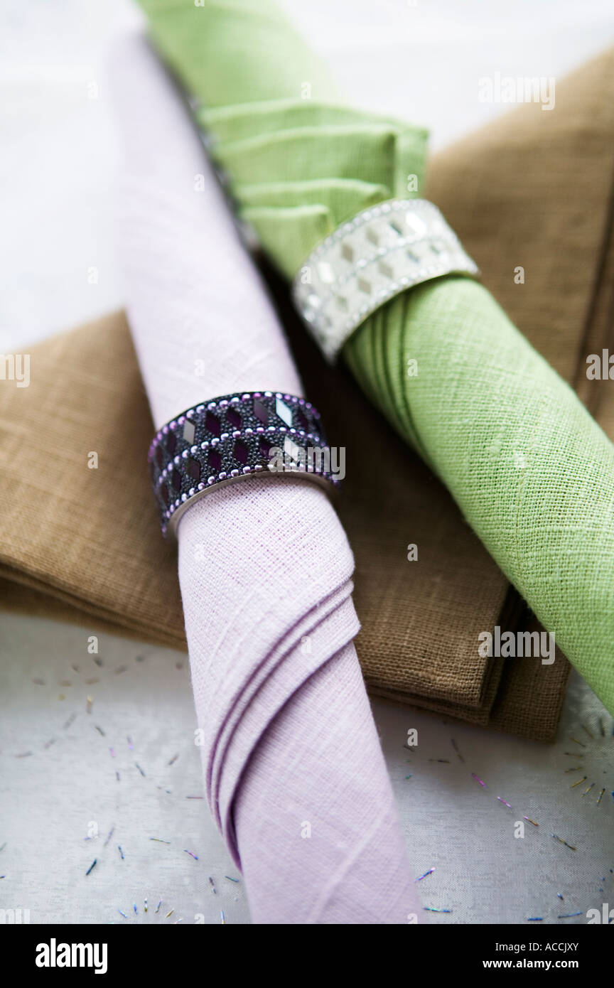 Napkins with napkin rings close-up. - Stock Image