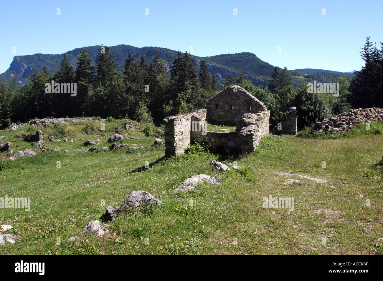 Ruined Building at Valchevriere a Village Destroyed in WW2 by the Germans in the Vercors Natural Park France - Stock Image