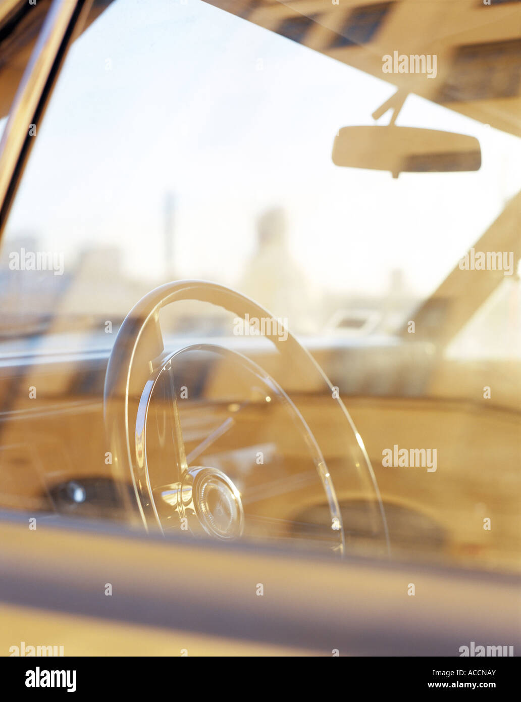 The interior of a car photograohed through window of the car. - Stock Image