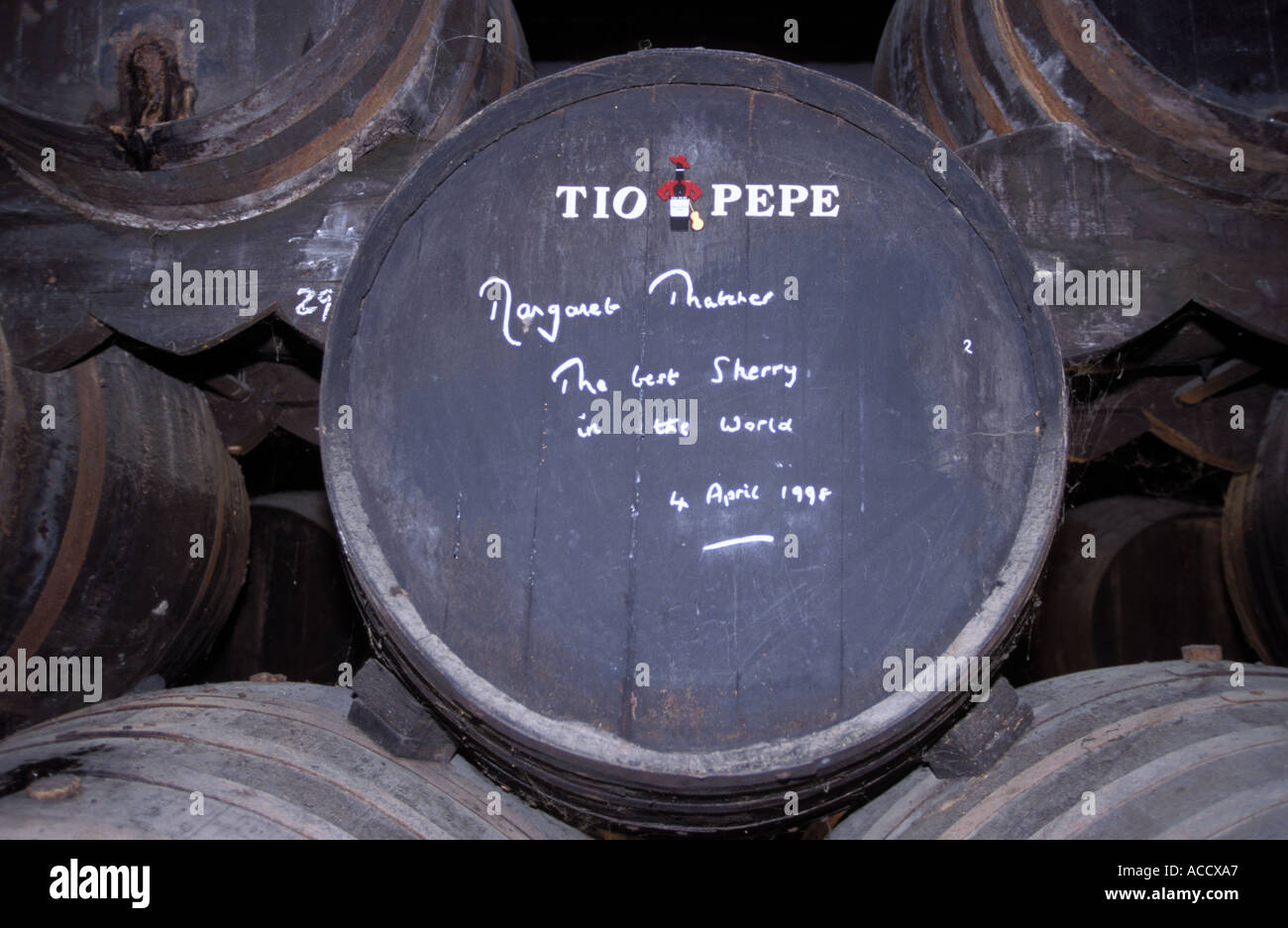 barrel signed by magareth thatcher in bodega of gonzalez byass - Stock Image