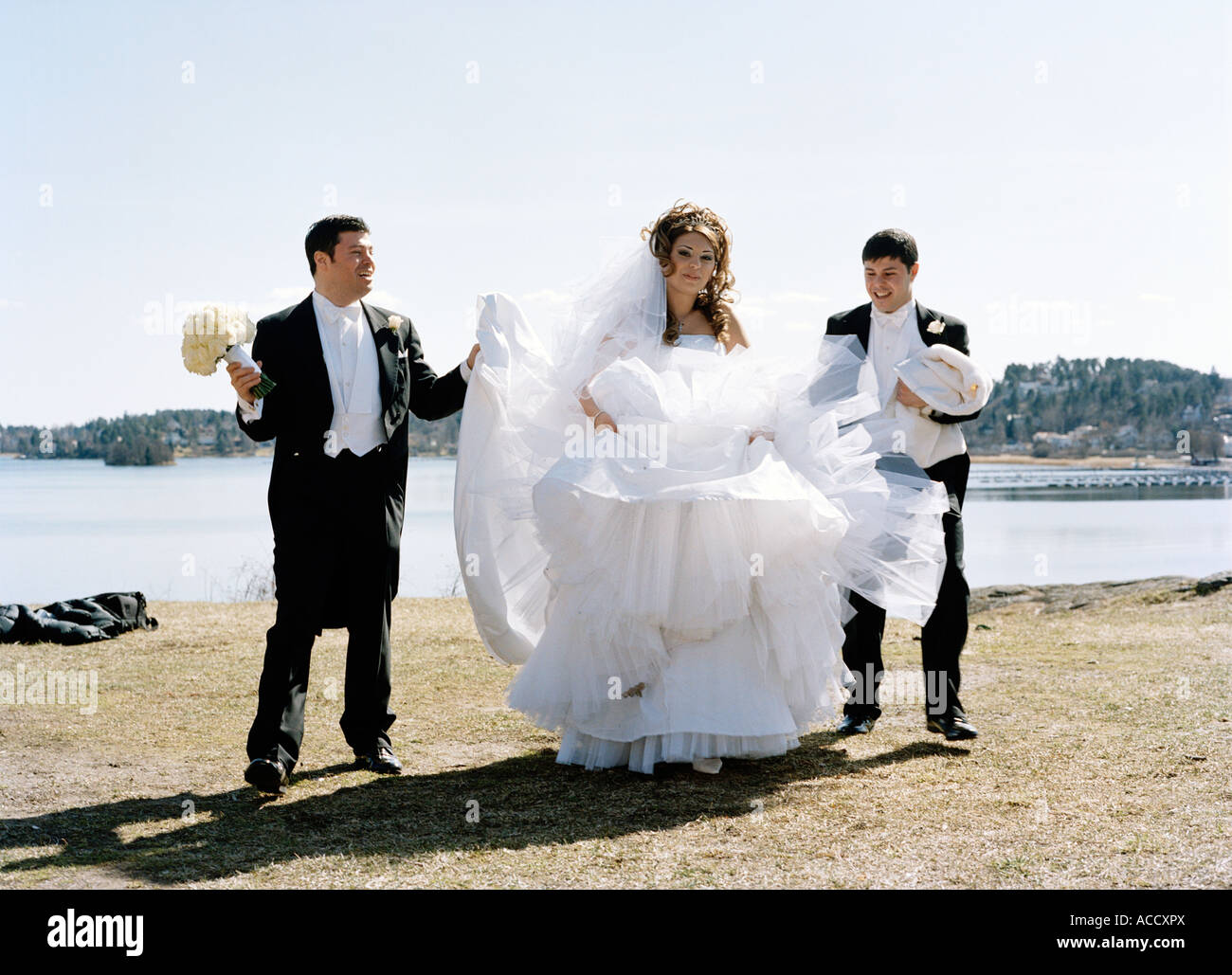 A Bridal Couple And A Best Man Stock Photo 13117489 Alamy