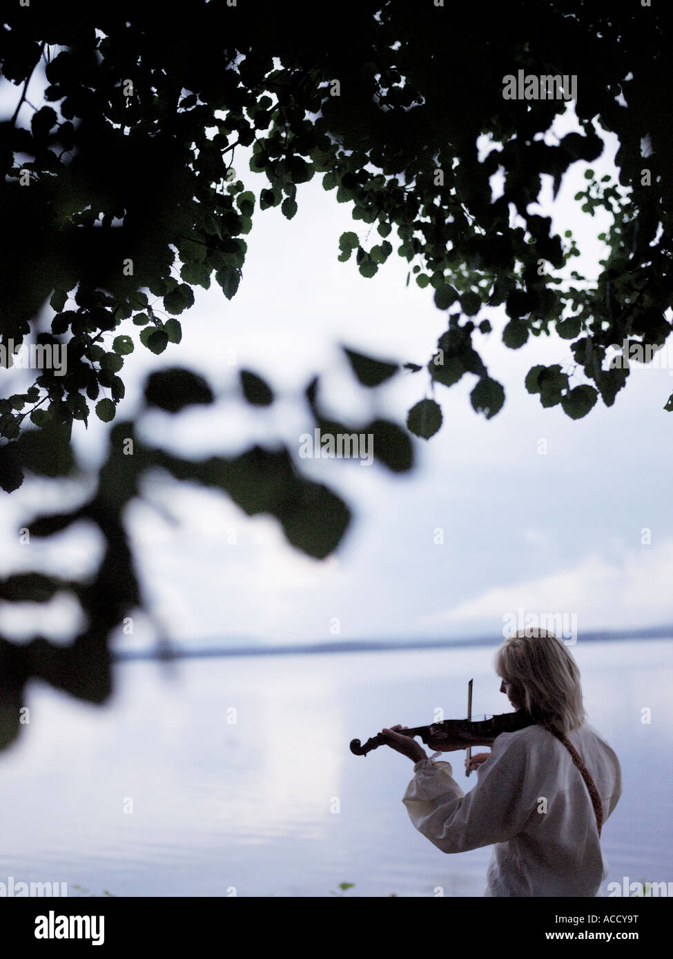 A man playing the violin by a lake. Stock Photo