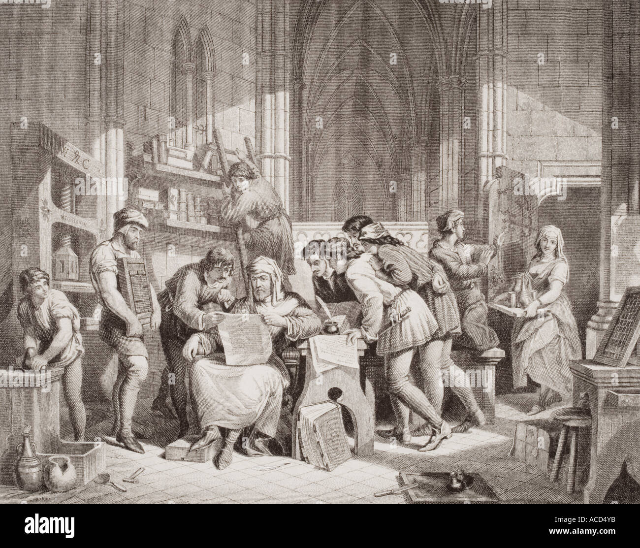 Introduction of Art of Printing Caxton reading first proof sheet from his printing press in Westminster Abbey March, 1474 - Stock Image