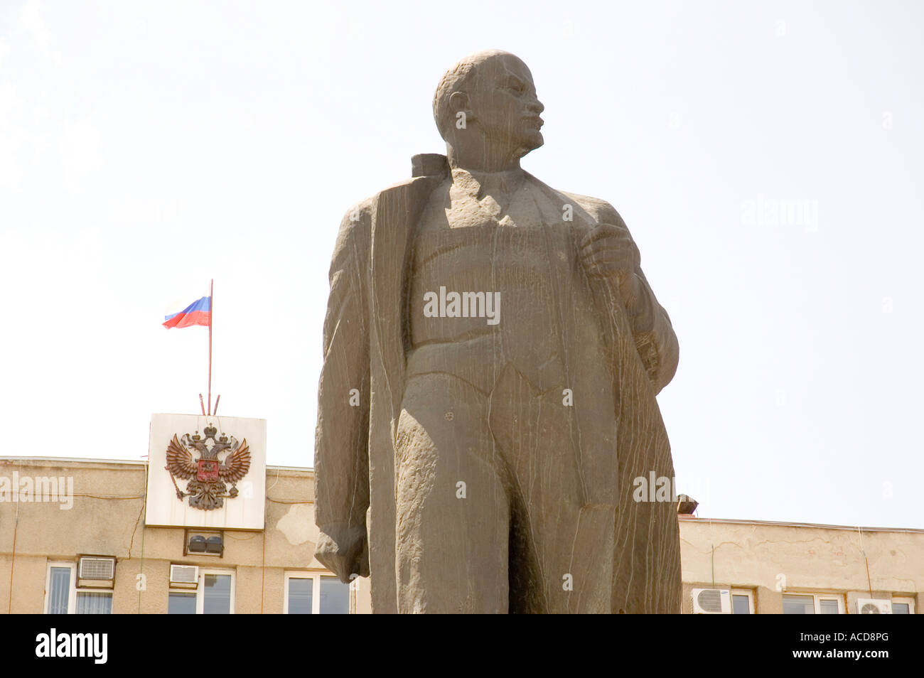 Lenin statue in the main square of the North Caucasus city of Georgievsk in Southern Russia - Stock Image