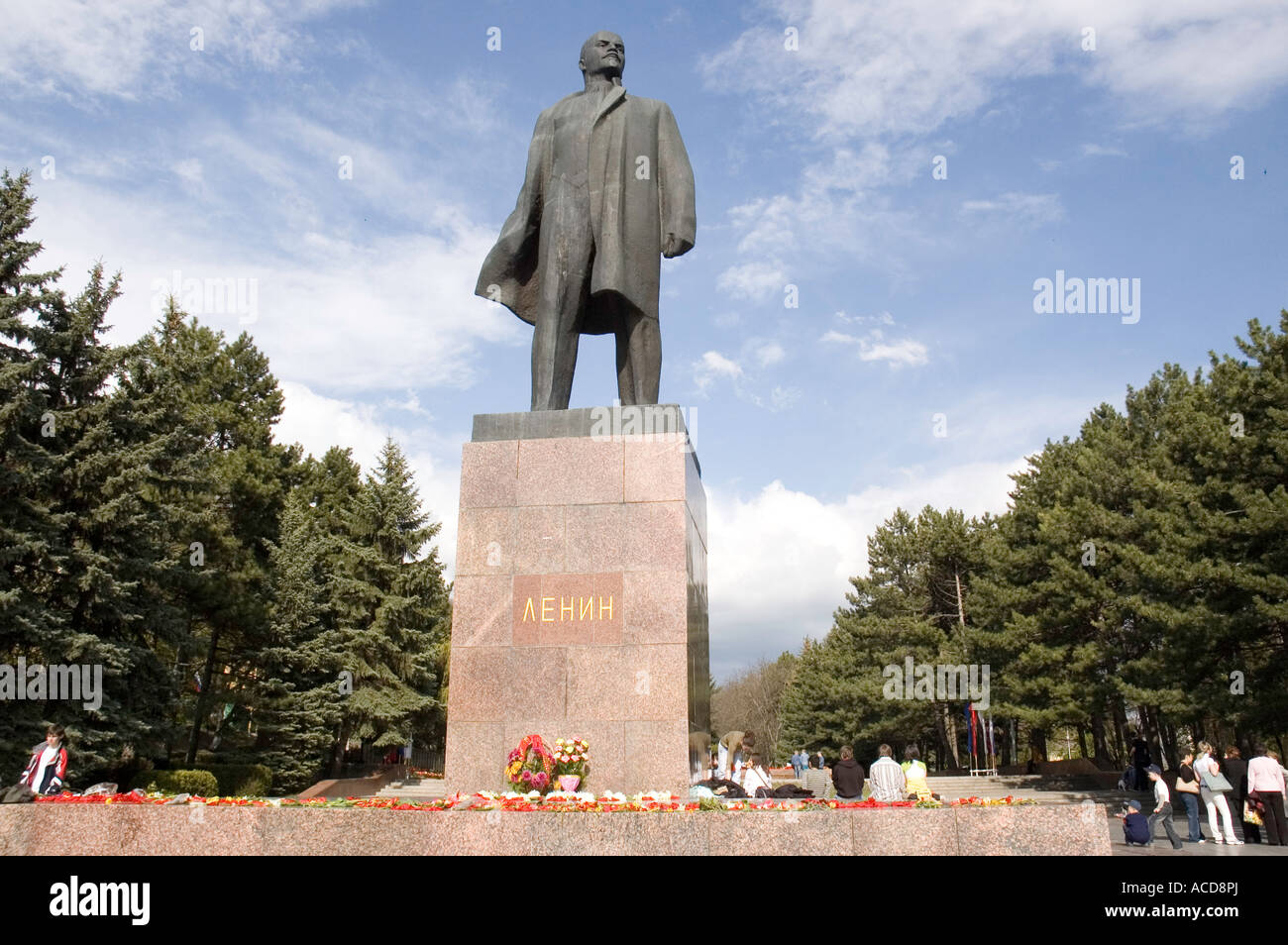 Lenin statue in the main square of the North Caucasus city of Pyatigorsk in Southern Russia - Stock Image