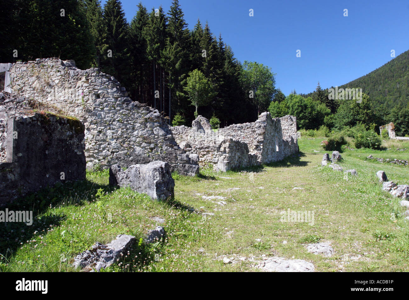 Stone Work and Ruined Buildings at Valchevriere a Village Destroyed in WW2 by the Germans in the Vercors Natural - Stock Image