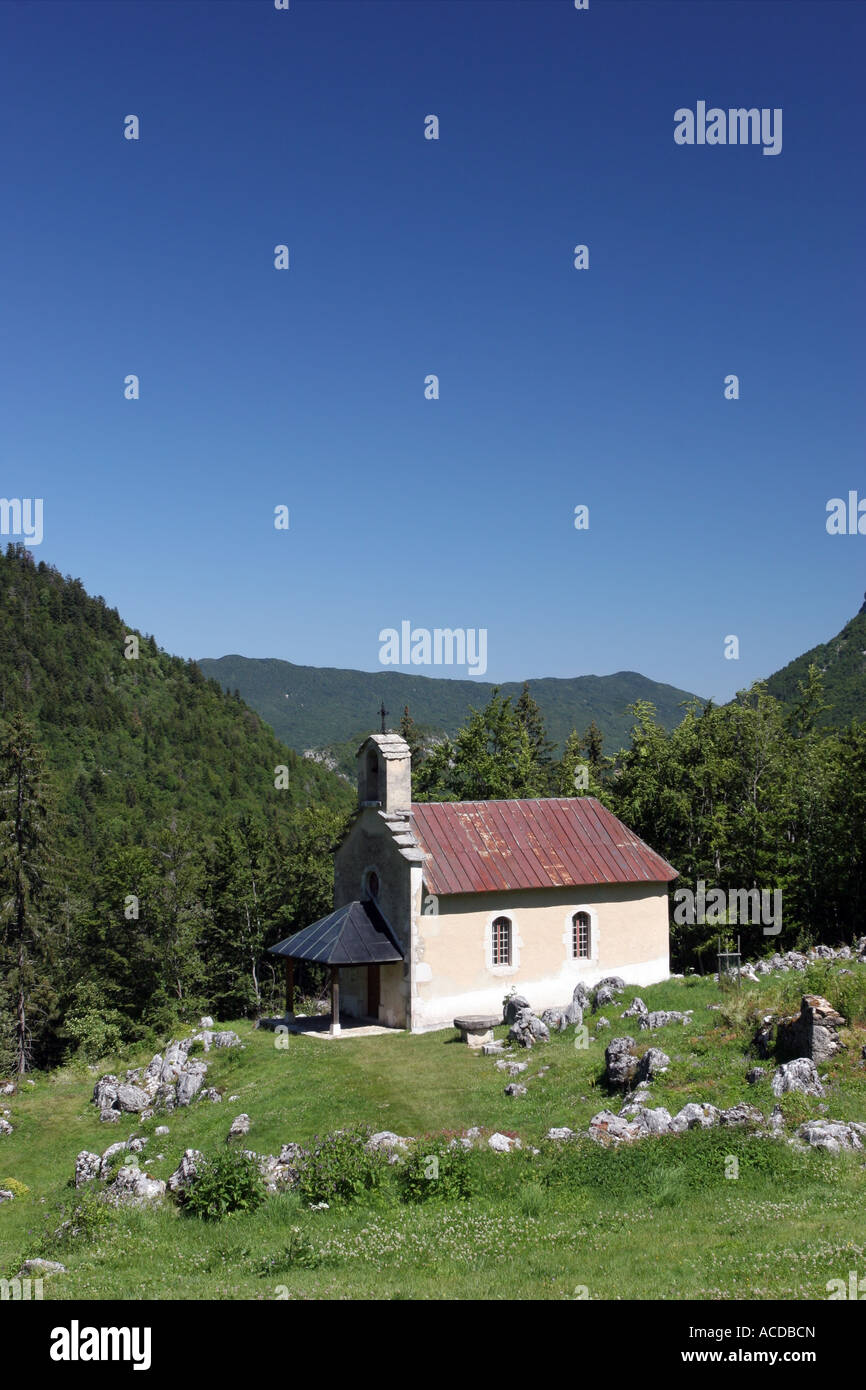 Restored Chapel at Valchevriere a Village Destroyed in WW2 by the Germans in the Vercors Natural Park France - Stock Image