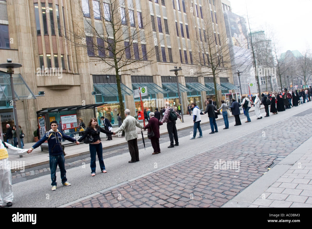 Chernobyl 20th anniversary human chain in street Hamburg Germany 2006 - Stock Image