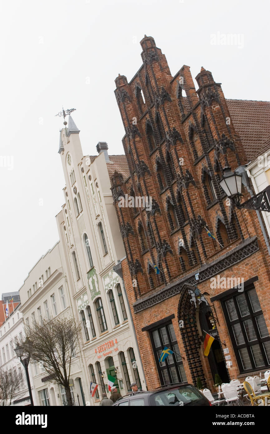 Gabled buildings at the market place of Wismar Mecklenburg West Pomerania Germany - Stock Image