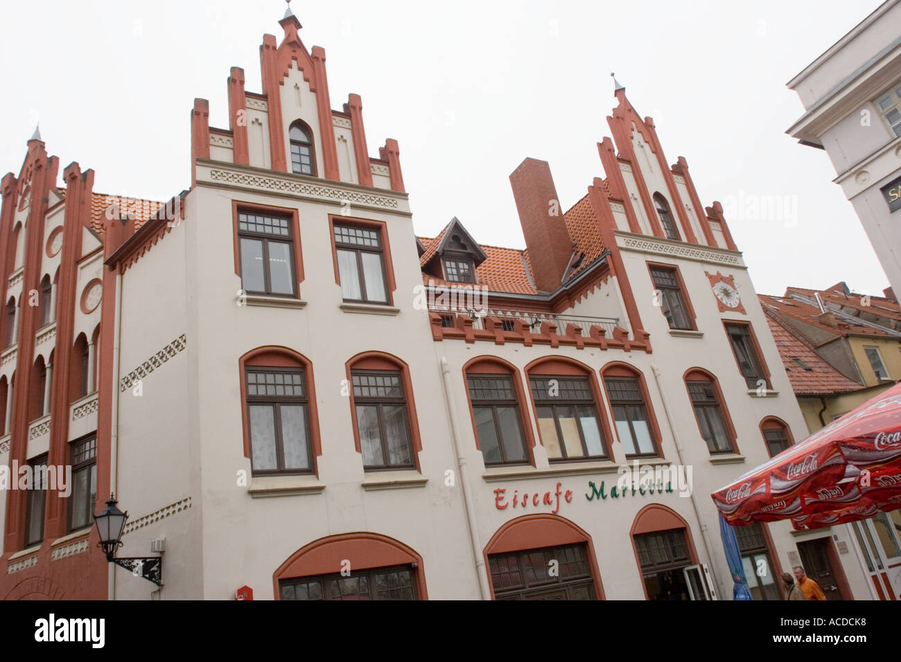 Gabled building  at the market place of Wismar Mecklenburg West Pomerania Germany - Stock Image
