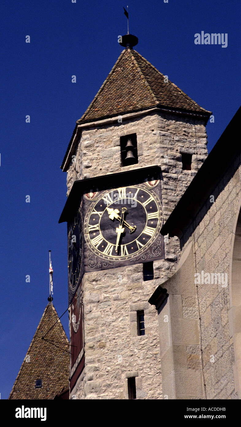 Switzerland Rapperswil  Zurichsee clocktower suisse, schweiz - Stock Image