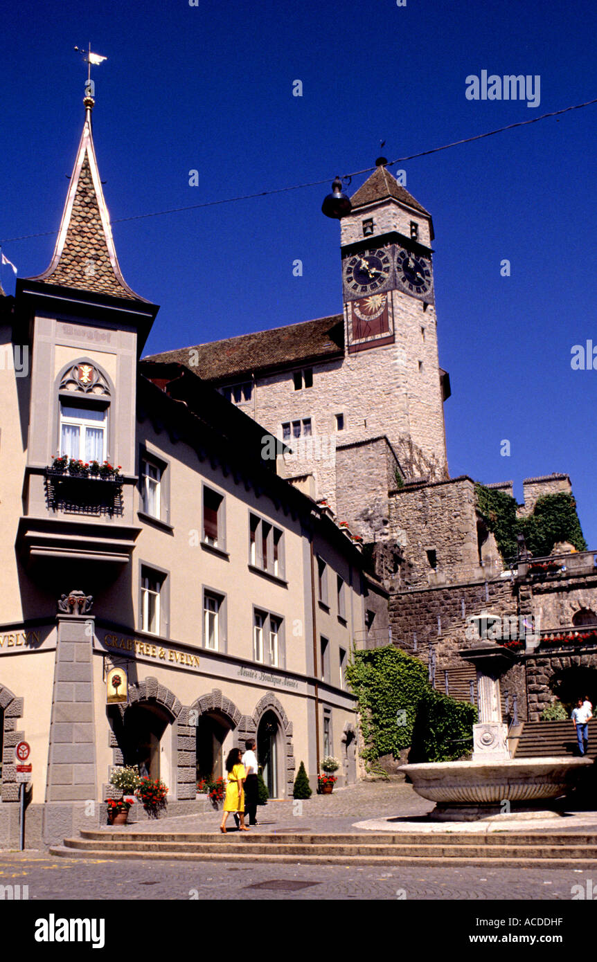 Switzerland Rapperswil Town Historic old History Centre Zurichsee clocktower suisse, schweiz - Stock Image