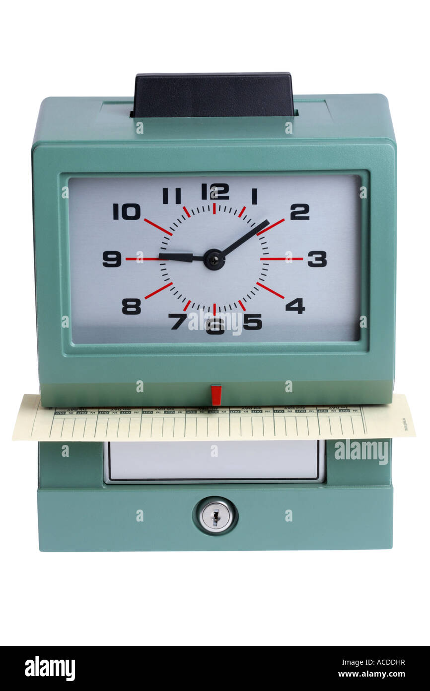 Time clock cut out on white background Stock Photo