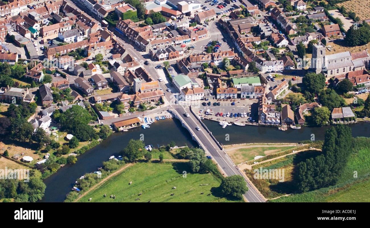 Aerial view. Wareham town quay. Street layout. Pubs, shops, houses. Bridge over the River Frome. Dorset. UK - Stock Image