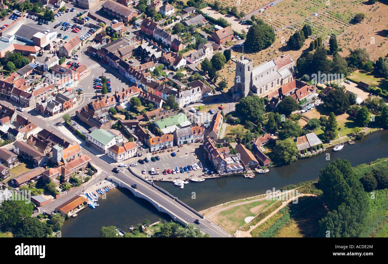 Aerial view. Wareham town quay. Church and graveyard. Street layout. Pubs, shops, houses. Bridge over  River Frome. - Stock Image