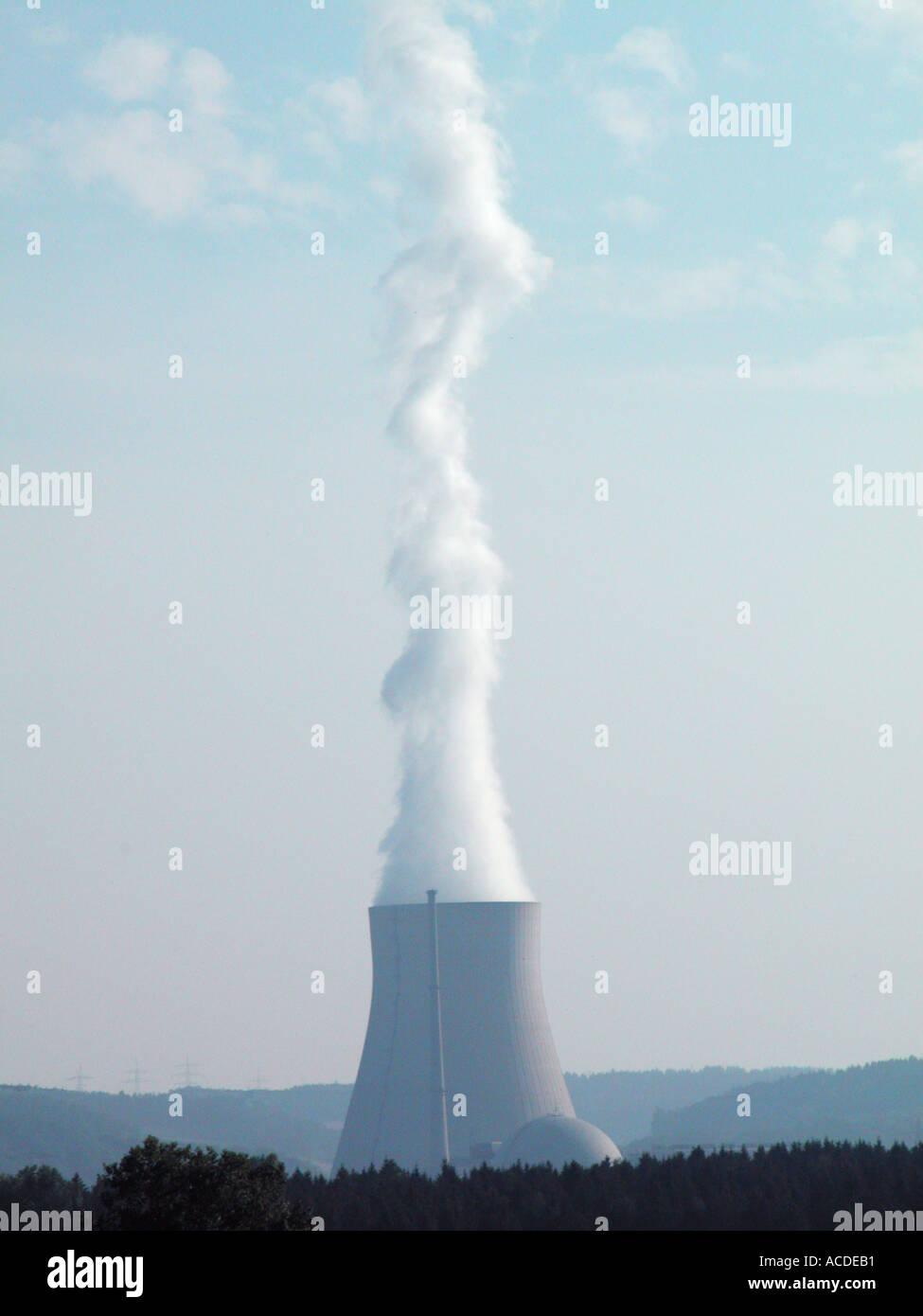 atomkraftwerk OHU Landshut nuclear power cooling tower - Stock Image