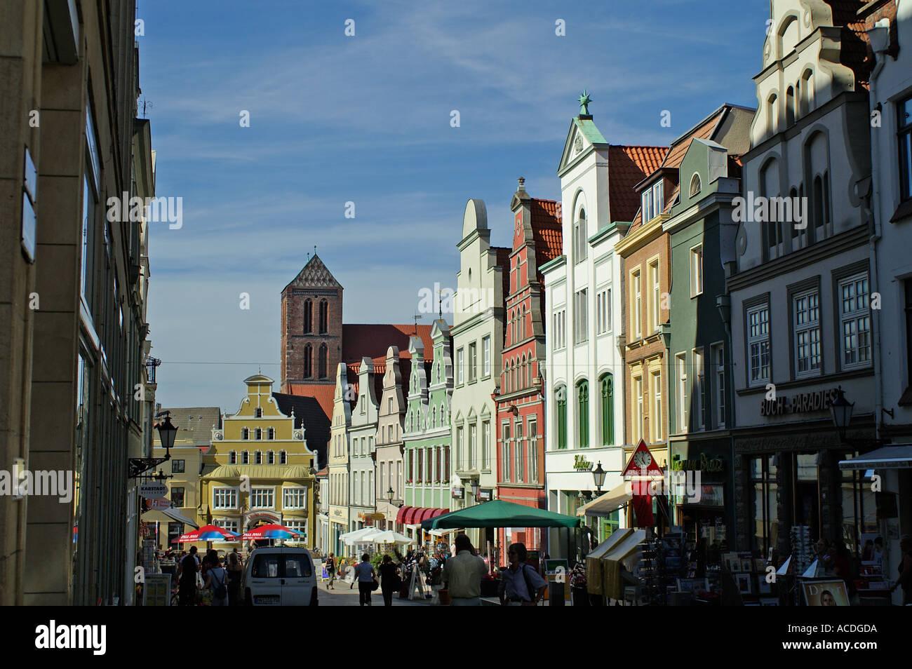 Krämerstraße Wismar decorate gable street - Stock Image