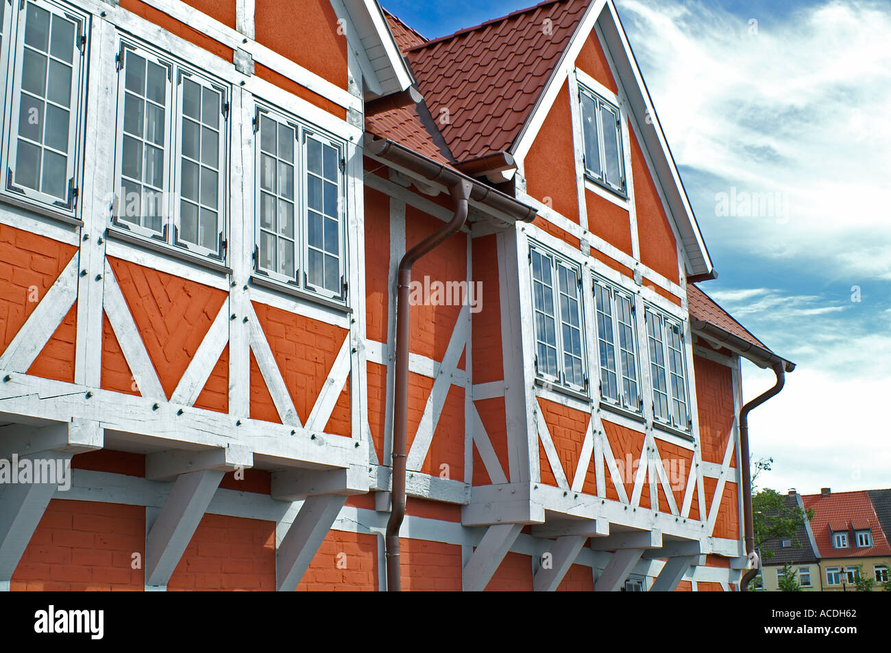 half timbered house in Wismar Hanse town city Germany Mecklenburg Pomerania - Stock Image