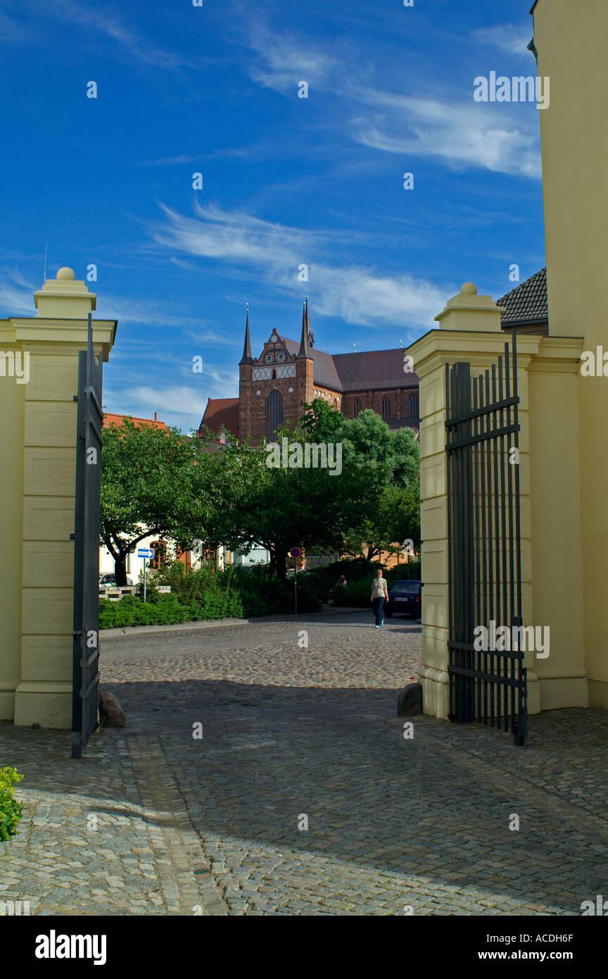 street Zeughausstraße Wismar Hanse town city Germany Mecklenburg Pomerania - Stock Image