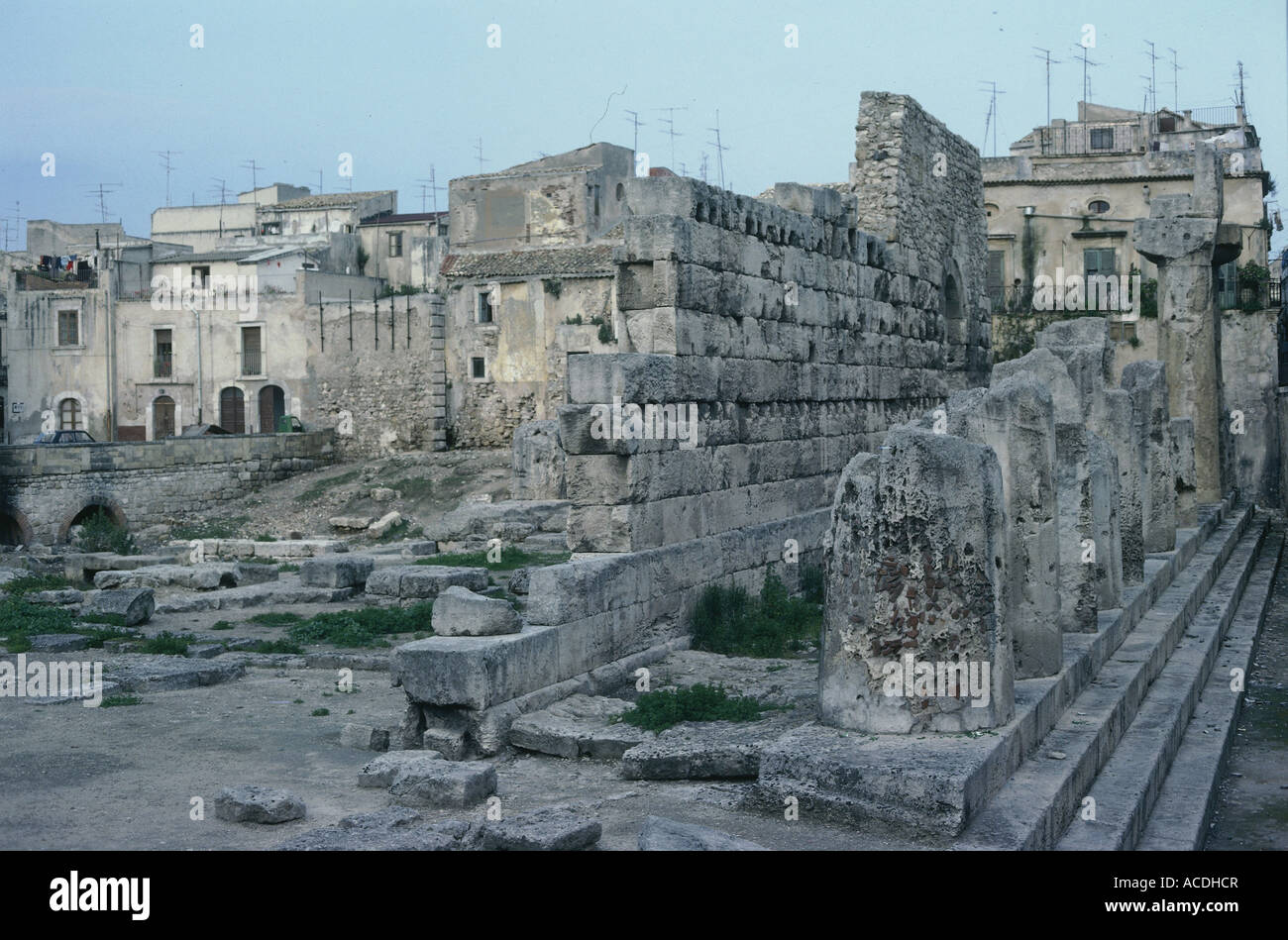 geography / travel, Italy, Sicily, Syracuse, temple of Apollo, built circa 565 BC, wall and stumps of columns, Europe, - Stock Image