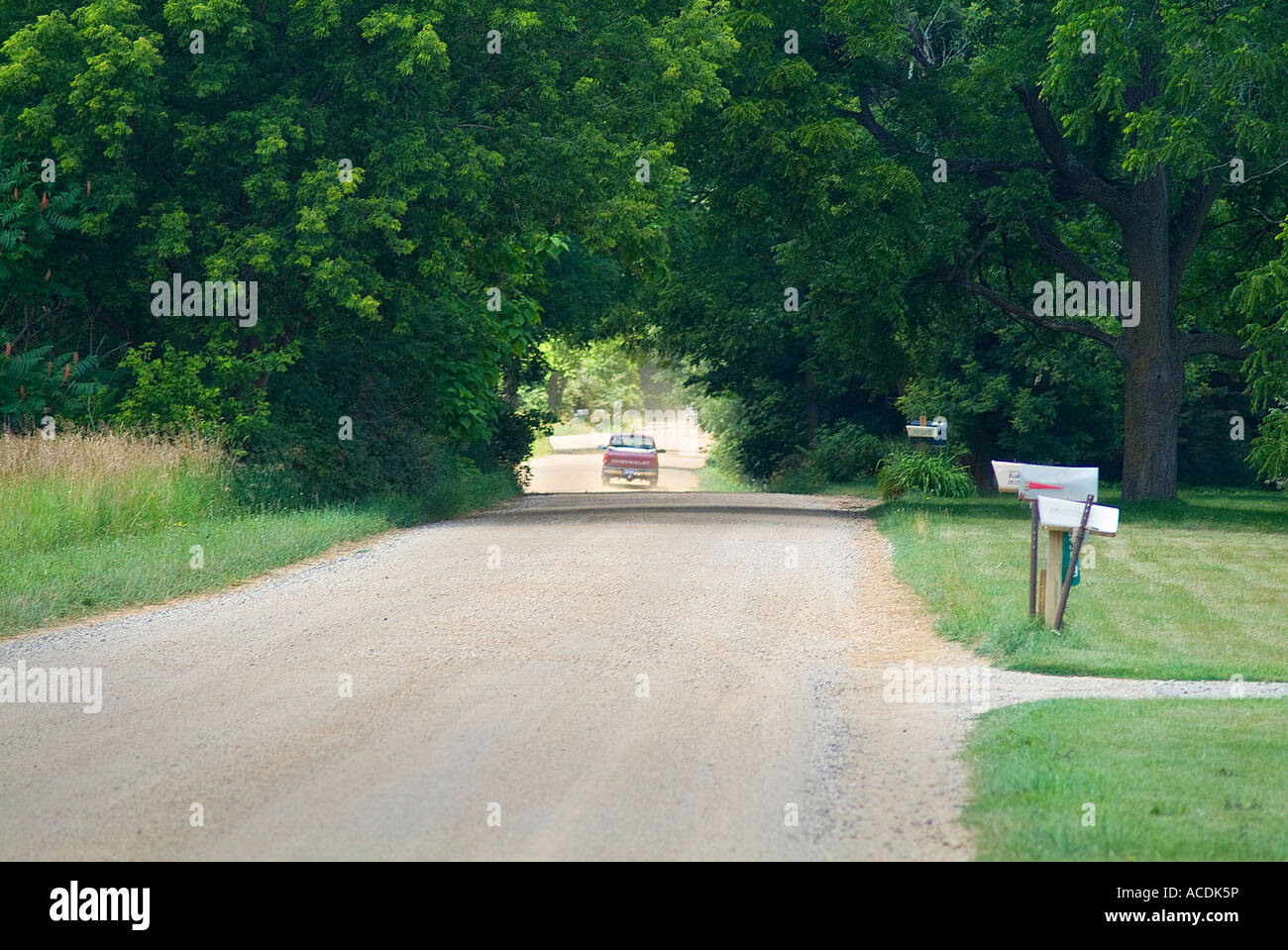 Pickup Truck Lorry On Dirt Country Road, Rural Michigan USA - Stock Image