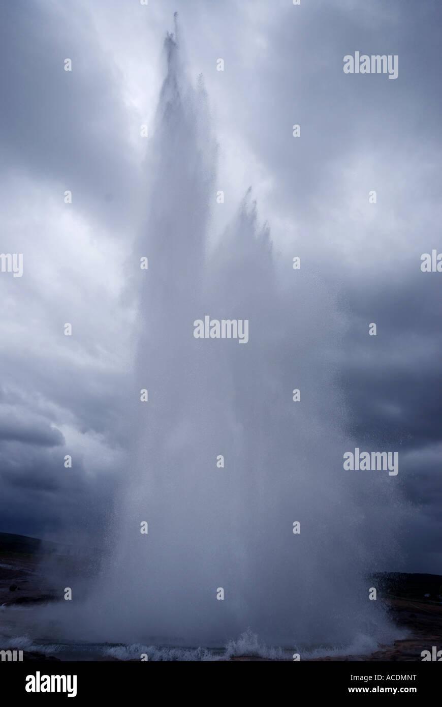 geysir geyser iceland natural phenomena - Stock Image