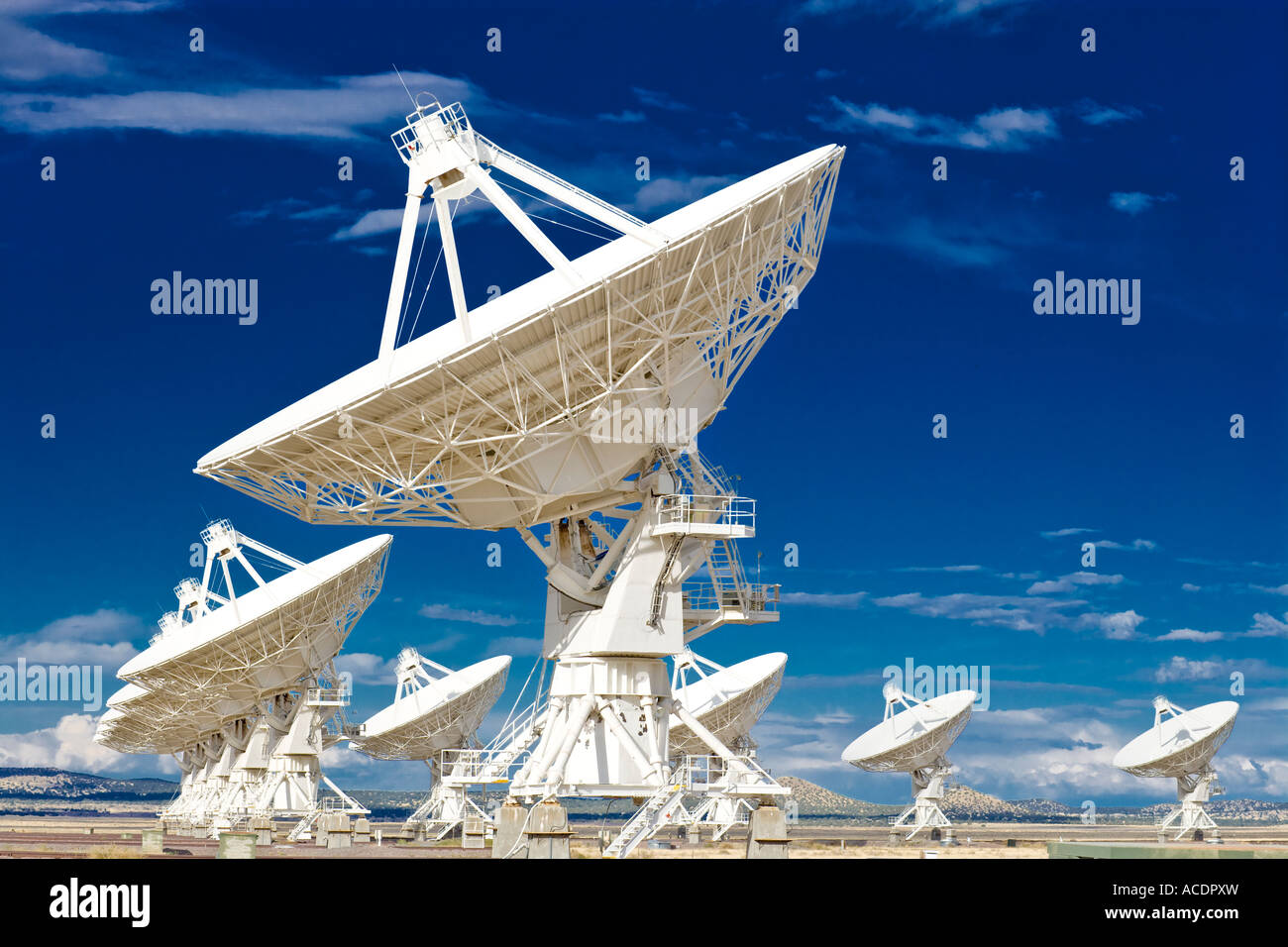 Radio telescope satellite dishes dish of astronomy observatory Very Large Array VLA near Socorro New Mexico US USA - Stock Image